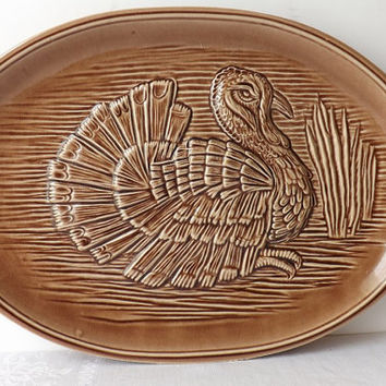 Vintage McCoy Turkey Platter, Brown Thanksgiving Ceramic Serving Platter, Autumn Kitchen Decor, Fall Display