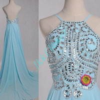 Long Blue Stunning Crystal Beaded Prom Dresses 2015 Custom Mde Backless Prom Dresses,Formal Party Grown