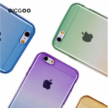 Phone Cases for Apple iPhone 5 5s 6S Case Transparent Gradient Color Design TPU Silicon Phone Covers Shell Top Quality