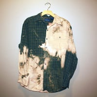 bleached ombre green flannel  ONE OF A KIND