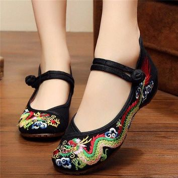 Vintage National Wind Chinese Embroidered Dragon Mary Janes Flat Shoes