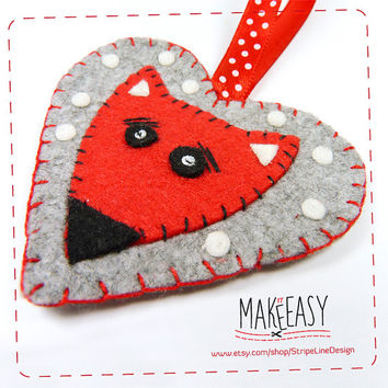 Fox head in Heart - Hanging Ornament - Felt pattern and Tutorial - DIY - Making pattern PDF - Plushie animal Instructions