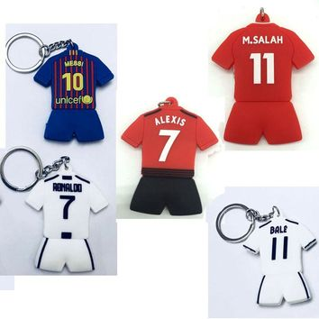 Football Toy Sport CR7 C.RONALDO Messi Bale Salah Sanchez Keychain Gift Men Women Soccer Star Silver Soccer Club Fans Keychain