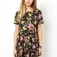 Black Floral Short Sleeve A-line Pleated Mini Dress