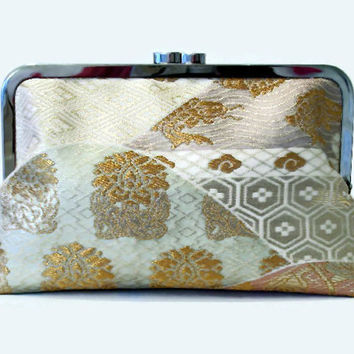 "Cream And Gold Silk Clutch Featuring Peony, Fortune Hexagon And Round Tsunami, Silk Purse Made From Japanese Obi Silk Bridal Purse 9"" x 5.5"""