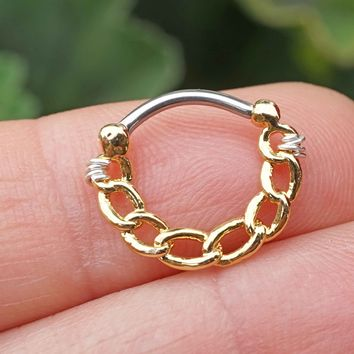 Gold Linked Chain Clicker Daith Hoop Ring Rook Hoop Cartilage Helix