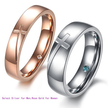 Fashion Cross Heart Couple Stainless Steel Comfort Fit Wedding Bands Promise Ring