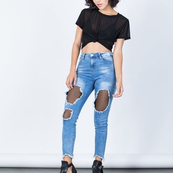 Edgy Netted Jeans