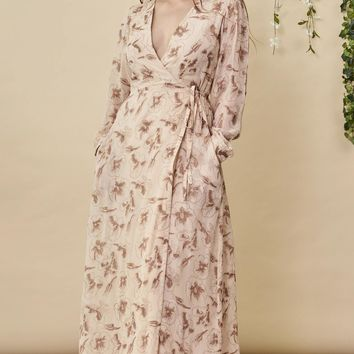 Hibiscus Empress Wrap Dress Blush + Copper