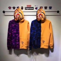 ONETOW Supreme Bape color camo Shark Brushed sweater/jacket