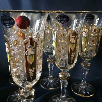 Czech bohemia crystal glass - Cut champagne glasses 21cm decorated gold 150ml (the price is for 6 glasses)