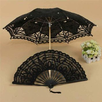 ONETOW Umbrella/Fan Fancy Retro Style Lace Handmade Hand Fan Parasol Umbrella Wedding Bridal Party Decorative Craft Supplies
