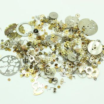 Free Shipping 30g/lot Parts Steampunk Vintage Watch Pieces Gears Plate Crowns Wheel Steam Punk Accessory