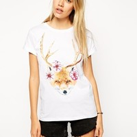 ASOS Boyfriend T-Shirt with Fox and Antlers