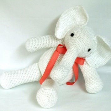 Amigurumi Hand Crocheted Stuffed Animal White Elephant Toy