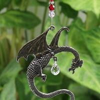 Fantasy Dragon Suncatcher, Crystal Sphere Ball, Medieval Goth Gothic Creature, Hanging Window Decoration, Rainbow Maker, Ideal Gift  27DR15