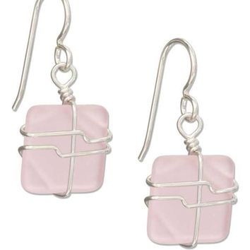 Sterling Silver Earrings: Wire Wrapped Blushing Pink Square Sea Glass Earrings