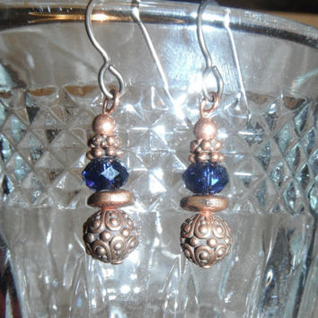Copper Flower with Blue Swarovski Bead Earrings Cobalt French Hook Dangle gift fashion under 20