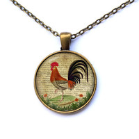 Rooster necklace Animal pendant Bird jewelry Art charm CWAO9-1