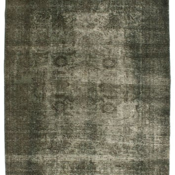 """7'2"""" x 10'6"""" Green Vintage Persian Overdyed Rug"""