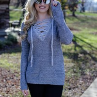 Appeal Lace Up Sweater, Heather Grey