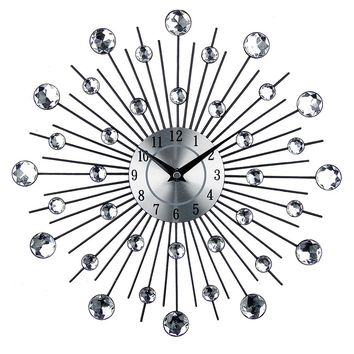 Vintage Metal Art Wall Clock Luxury Diamond Large Wall Watch