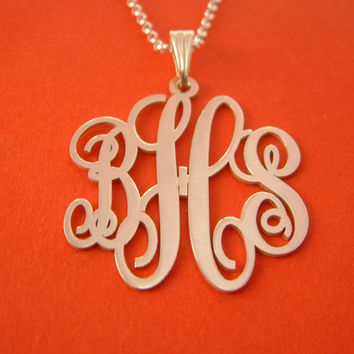 Silver Monogram Necklace Monogram Chain Christmas Gift Monogram NamePlate Christmas Gifts Silver Monogrammed Gift Pendant Monogram Necklaces