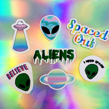 Alien Sticker Set (pack of 7), Phone case stickers, Laptop stickers