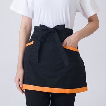 Good Quality Waist Aprons Restaurant Cafe Hotel Waiter Chef Apron Half Body Workwear Cooking Apron with Double Pockets