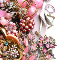 Vintage Pink Broken Jewelry Lot - Earrings, Brooches, Necklaces, Beads For Repair Repurpose / Over 1 Pound of Pink Destash Supplies