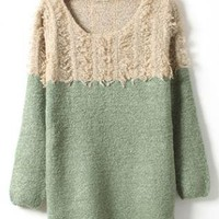 Green Long Sleeve Sweater with Tassel S003864