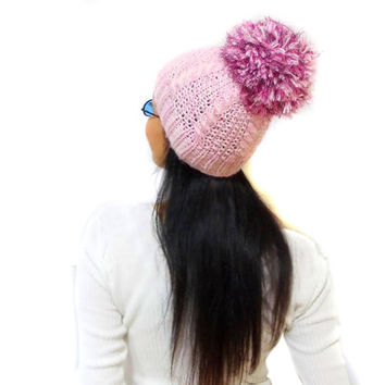 Pink Slouchy Cable Knit Hat, Soft big pom pom hat beanie