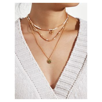 Gold White Sequin Star Layered Choker Necklace