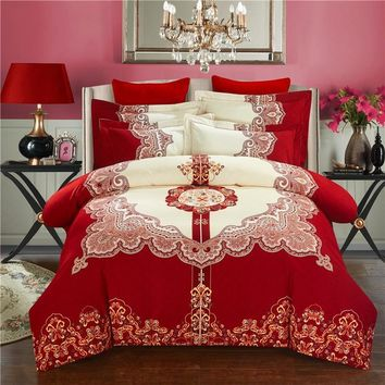 Svetanya Wedding Red Bedlinen Print Bedding Sets Queen King Size 100% Sanded Cotton