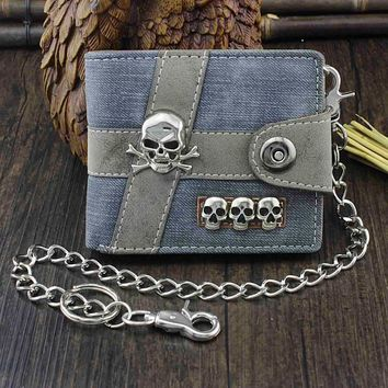 Skull Punk Biker Casual Hasp Wallet Purse With Chain