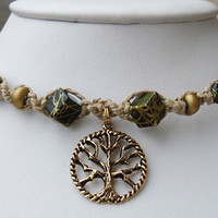 Green and Gold colored Tree  of Life Thin  Hemp Necklace Choker    wicca  hippie NEW