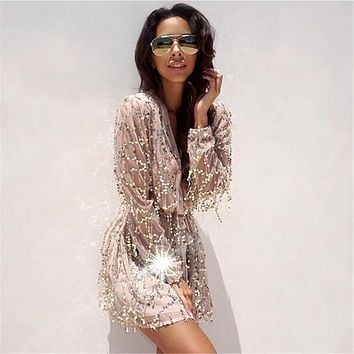 Beauty Ticks Fringed Sequined Dress Women Beach Cover Up Deep V Collar Embroidery Lantern Long Sleeved