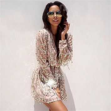 Fringed Sequined Dress Women Beach Cover Up Deep V Collar Embroidery Lantern Long Sleeved - Beauty Ticks