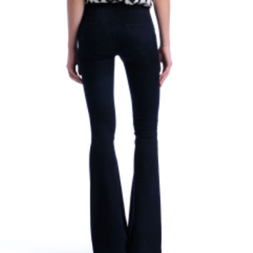 Blank Pull-On Fit & Flare Bell Bottom Denim Pants