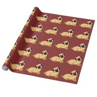 Christmas Pugs Pattern Burgundy Wrapping Paper