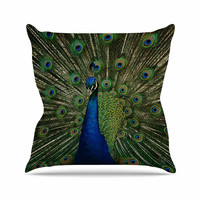 "Angie Turner ""Proud Peacock"" Blue Animals Outdoor Throw Pillow"