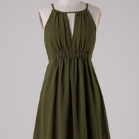 Chiffon Dress with Flower Band - Olive