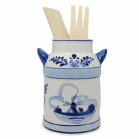 Blue and White Milk Can Kitchen Utensils Holder