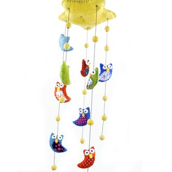 Felt Owl Baby Mobile - Bright Colors