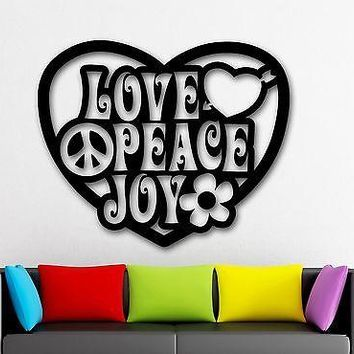 Wall Stickers Vinyl Decal Love Joy Peace Pacifism Hippie Unique Gift (ig1768)