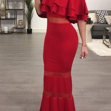 Red Bandeau Ruffle Grenadine Backless Mermaid Off Shoulder Bodycon Party Maxi Dress