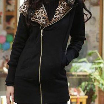 Black Zip Up Hoodie with Leopard Print