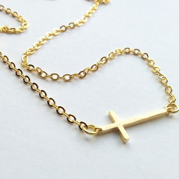 Sideways Cross Necklace in Silver and Gold Wedding gift, engagement gift, valentine's day, first communion gift