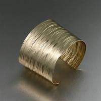 Nu-Gold Bark Cuff - Makes a Fabulous 21st Wedding Anniversary Gift or Statement Cuff!  - Handmade Jewelry by John S Brana