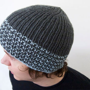 unisex vegan hat made by hand -- the torse in charcoal grey and glacier blue stripes